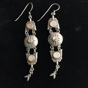 Vintage sterling silver MOP Chandelier Earrings